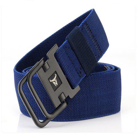 ENNIU Men's Double Ring Buckle Nylon Elastic Stretch Durable Canvas Casual Belt - DEEP BLUE