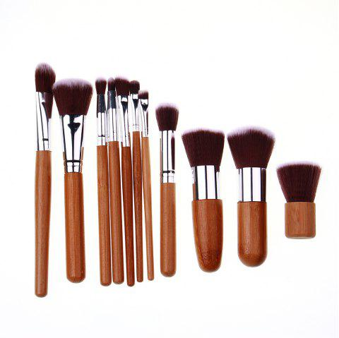 High Quality 11 PCS Makeup Brush Set Bamboo Handle Nylon Hair - LIGHT BROWN