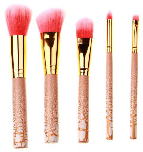 High Quality 5 PCS Makeup Brush Set Wood Crackle Handle - BLANCHED ALMOND
