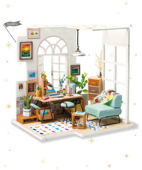 Robotime DIY Miniature Wooden Doll House Model Building Kits Dollhouse Toy Gift - CRYSTAL CREAM 1PC