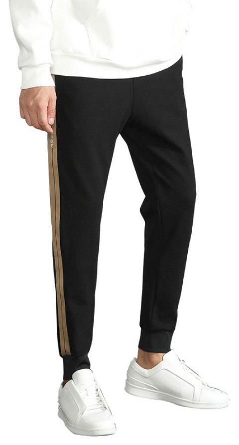Spring and Autumn Casual Pants Fashionable Men Small Feet Black Trousers - BLACK L