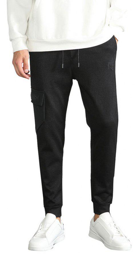 Fall Wear The Men Fashion Clothes Cotton Solid Color Trousers - BLACK M