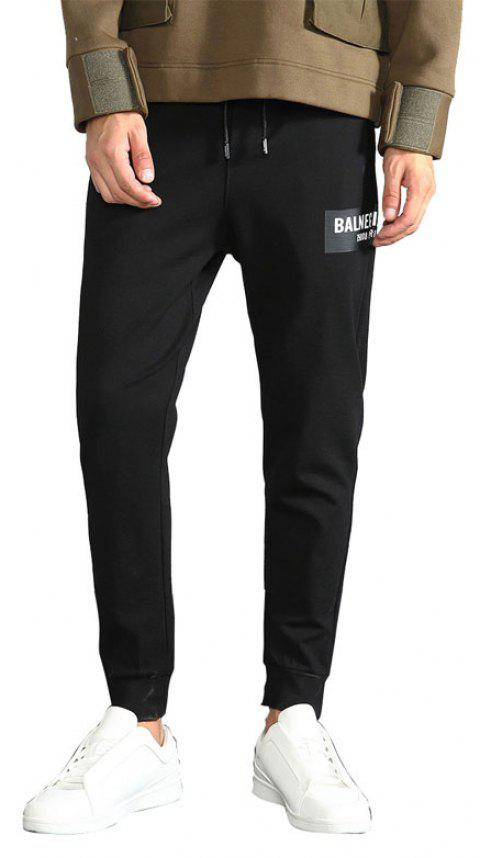 Men Sport Pants Fall Casual Dress Fashionable Black Trousers Small Feet - BLACK L