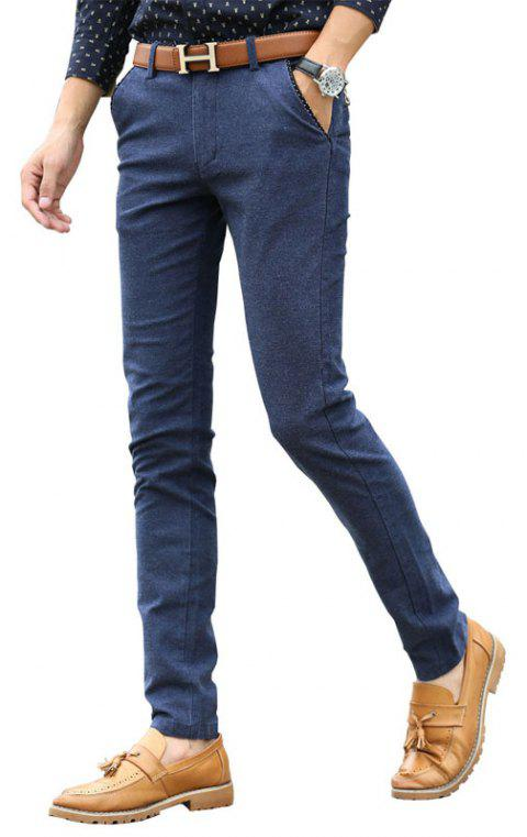 Men Clothing Autumn Business Casual Pants Micro Style Trousers - BLUE 34