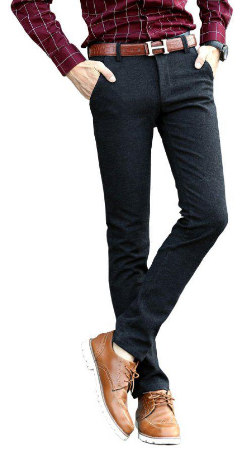 Men Clothing Autumn Business Casual Pants Micro Style Trousers - BLACK 32