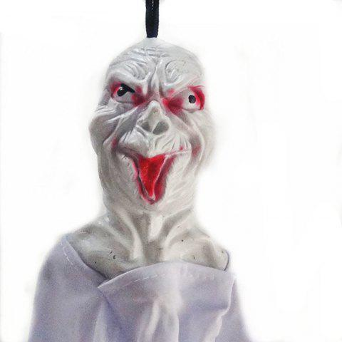 Hanging Halloween Decoration - Realistic Floating Ghoul Ghost Skeleton Face - WHITE 42CM*20CM