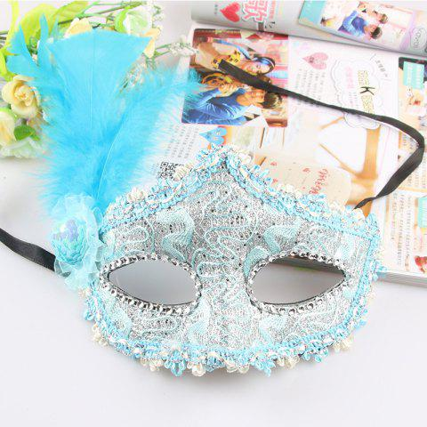 Lace Feather Fancy Dress Ball Mask Girl Half Face Ball Head - TRON BLUE 22 X 23CM
