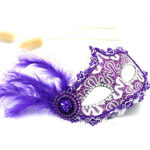 Lace Feather Fancy Dress Ball Mask Girl Half Face Ball Head - PURPLE DAFFODIL 22 X 23CM