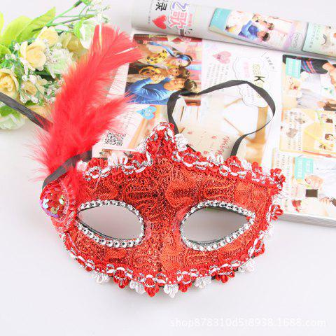 Lace Feather Fancy Dress Ball Mask Girl Half Face Ball Head - RED 22 X 23CM