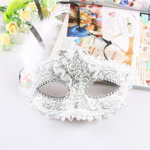 Lace Feather Fancy Dress Ball Mask Girl Half Face Ball Head - WHITE 22 X 23CM