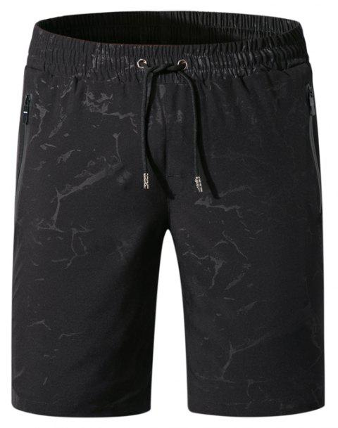 Men Summer Elastic Fabric Casual Pants Printing Quick-Drying Beach Shorts - BLACK M