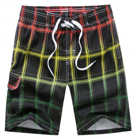 Summer Men Gradient Mesh Loose Quick-Drying Leisure Sports Beach Shorts - multicolor A 3XL