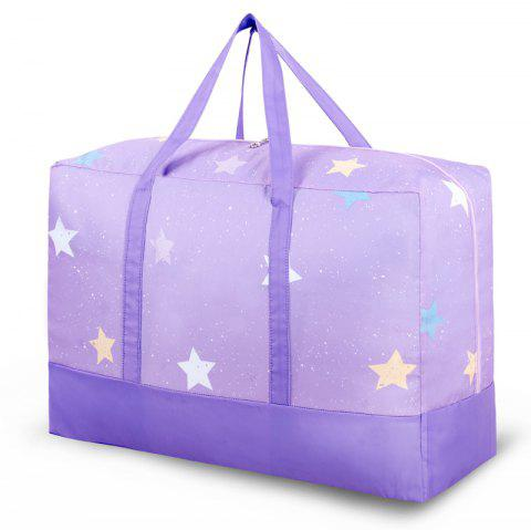Travelling Bag Splicing Folding Storage Handbag Clothes Quilt Finishing Box - HELIOTROPE PURPLE L