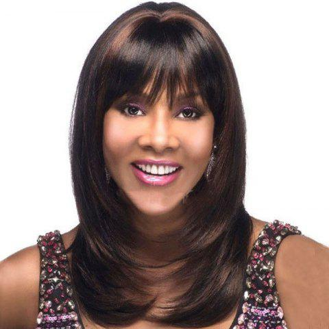 Central Parting Hair Slim Face Gradient Ramp Wig - multicolor D