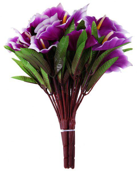 Purple Calla Lily Silk Touch Home Decoration Branch of Artificial Flowers - PURPLE FLOWER