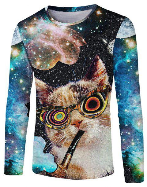 Fashion New Eyes Cat Men's 3D Printing Round Neck Long-Sleeved T-shirt - multicolor 2XL