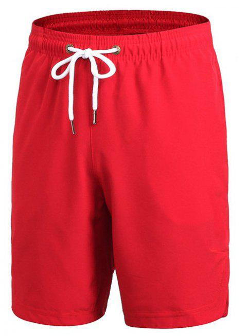 Men's Sports Fitness Running Training Loose Casual Quick-drying Shorts - RED 2XL
