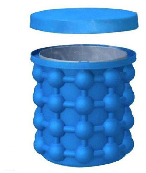 Silicone Ice Cube Maker Bucket with Lid and Non-slip Outer Bucket - OCEAN BLUE 11X10X10