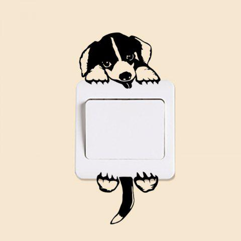 Fashion Cartoon Dog Pattern Light Switch Sticker - BLACK
