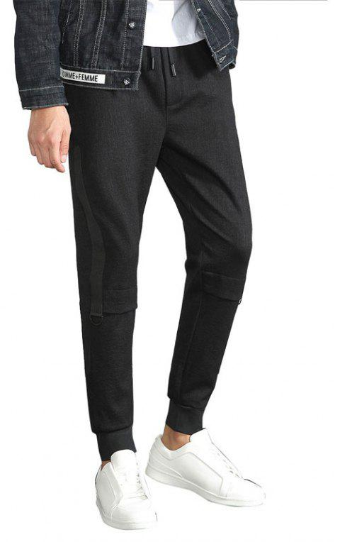 Men Clothes Fashionable Dress Down Solid Color Casual Nine Minute Trousers - BLACK 2XL