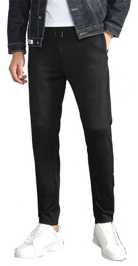 Fall Men Wear Fashionable Underwear Tights and Black Casual Trousers Sport Pants - BLACK 3XL