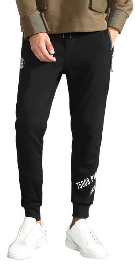 Fall Men Clothes Sport Casual Pants Small Foot Tie Nine Minute Trousers - BLACK M