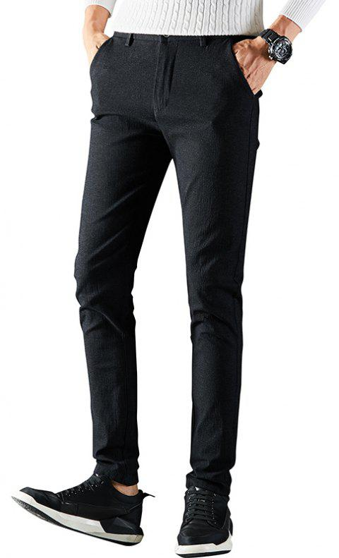 Autumn Men Business Trousers Fashion with Solid Color Youth Casual Pants - BLACK 32