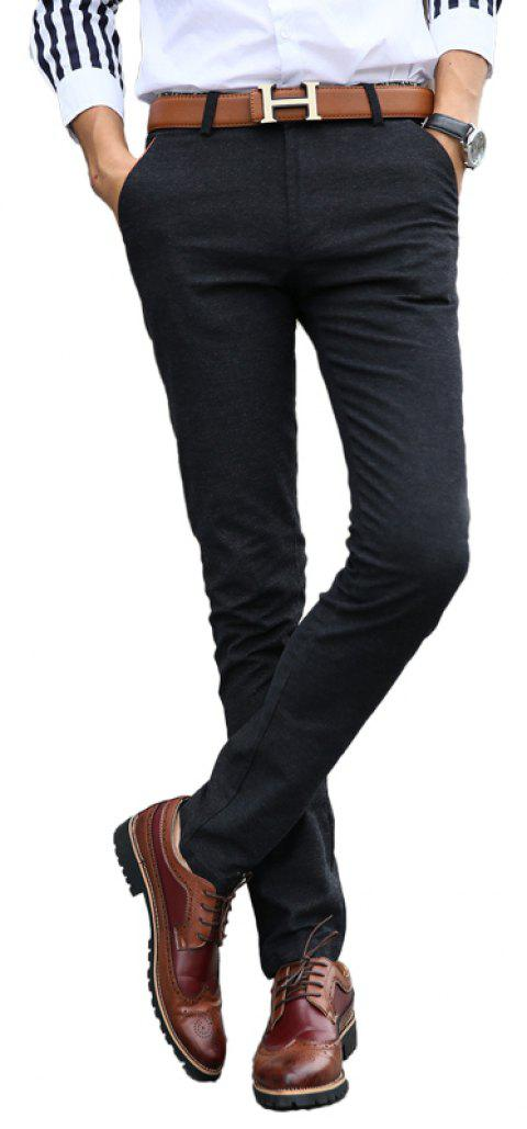 Fashionable Men Clothing Autumn Solid Color Small Feet Business Casual Pants - BLACK 30