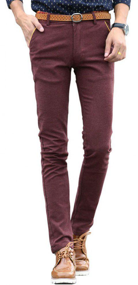 Fashionable Men Clothing Autumn Solid Color Small Feet Business Casual Pants - RED WINE 30