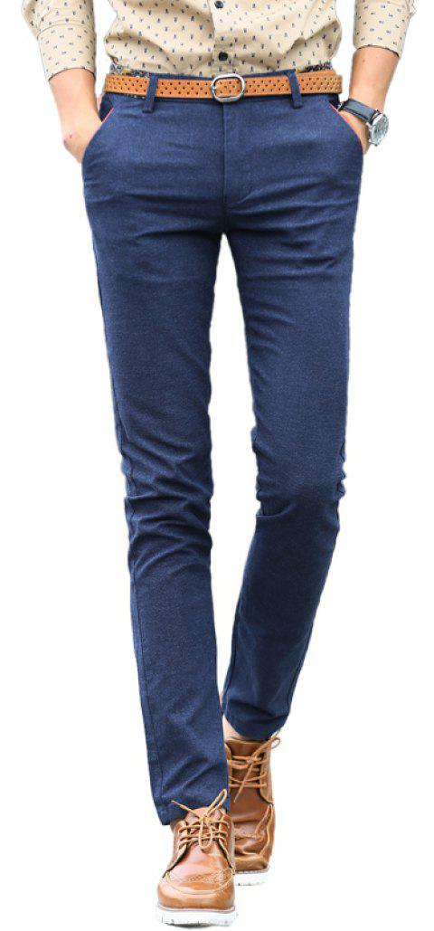 Fashionable Men Clothing Autumn Solid Color Small Feet Business Casual Pants - BLUE 36