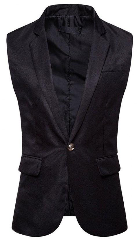Men's  Single Button Type Long Suit Vest - BLACK L