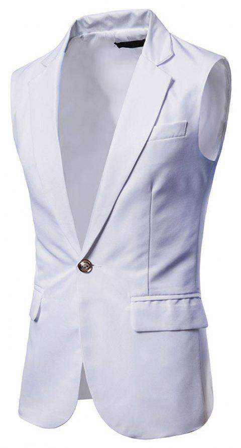 Men's  Single Button Type Long Suit Vest - WHITE XL