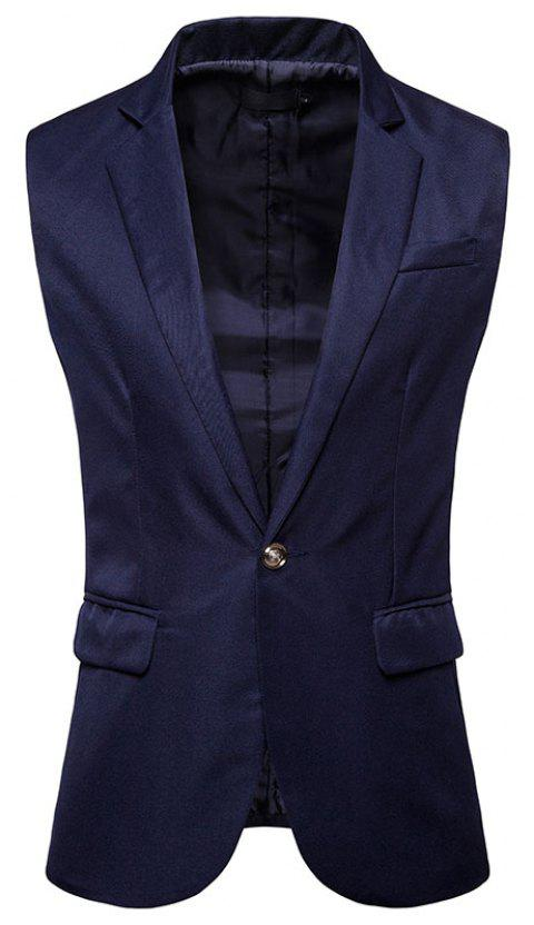 Men's  Single Button Type Long Suit Vest - CADETBLUE S