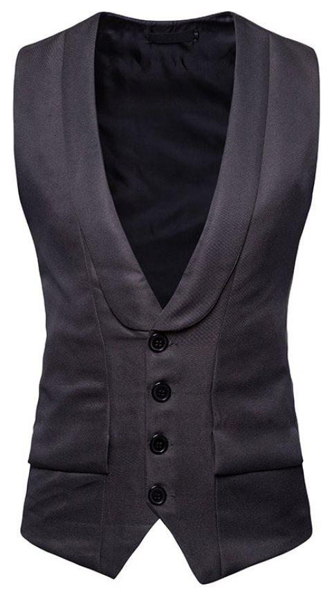 Men's Fashion Single-Breasted Design Vest - GRAY M