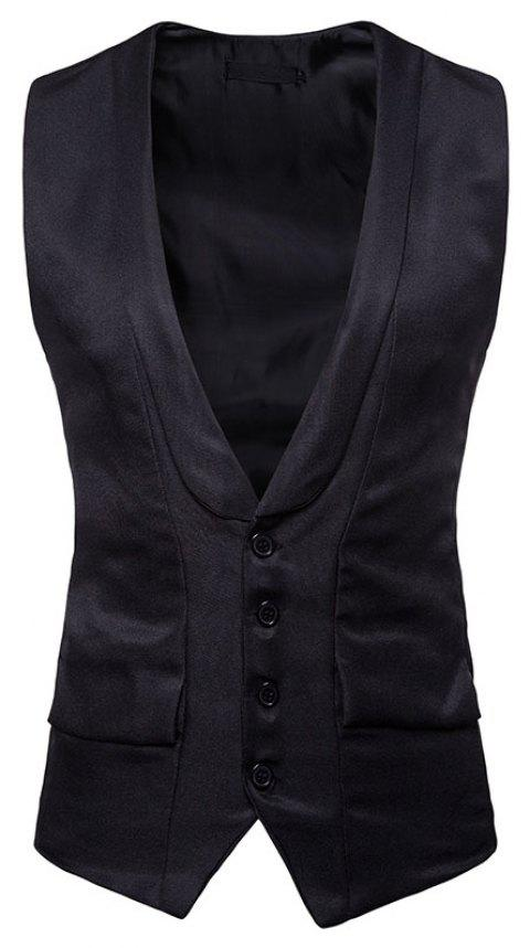 Men's Fashion Single-Breasted Design Vest - BLACK L