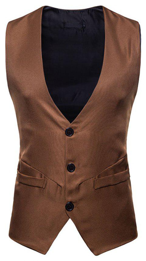Men's Fashion Casual Short Vest - DARK KHAKI 2XL