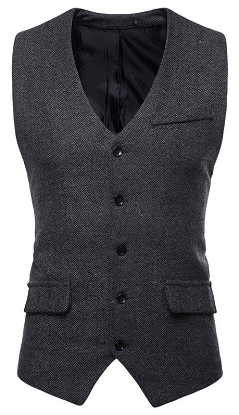 Men's Fashion Casual Suit Single-Breasted Vest - BLACK XL