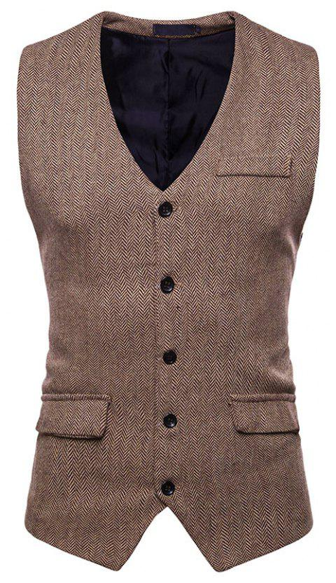Men's Fashion Casual Suit Single-Breasted Vest - LIGHT KHAKI M