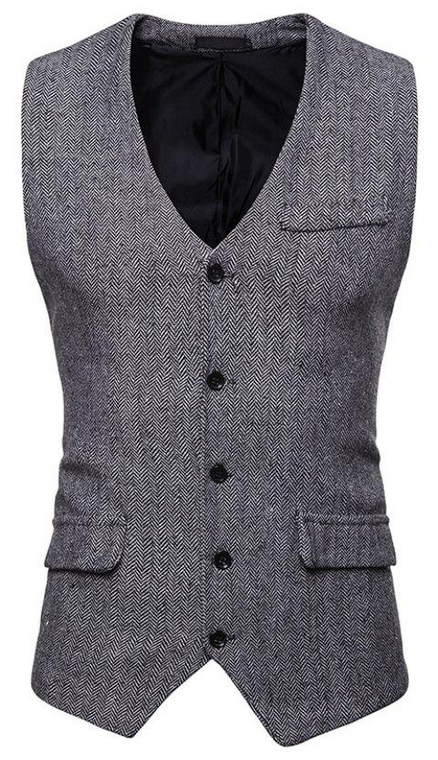 Men's Fashion Casual Suit Single-Breasted Vest - NIGHT M