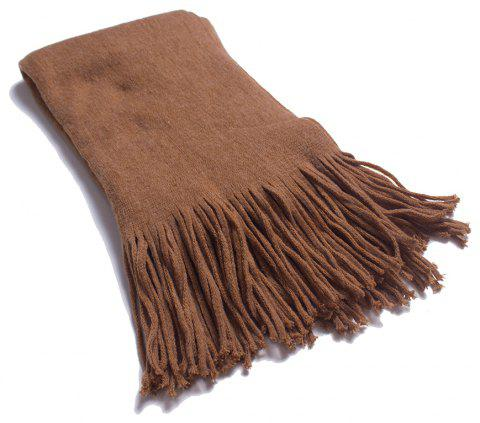 A Variety of Long Scarves with Tassels in Color - CAMEL BROWN