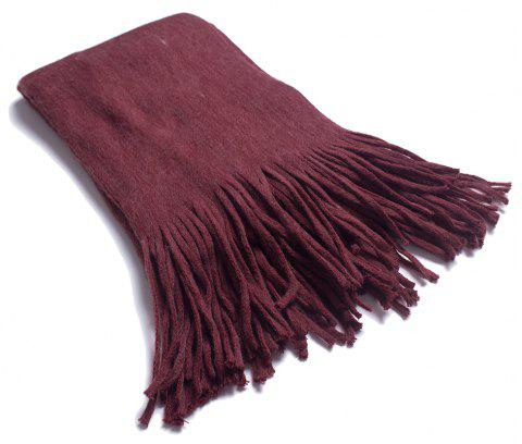A Variety of Long Scarves with Tassels in Color - RED WINE