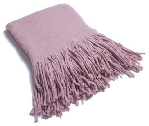 A Variety of Long Scarves with Tassels in Color - PINK ROSE