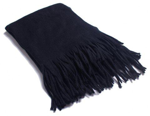 A Variety of Long Scarves with Tassels in Color - BLACK