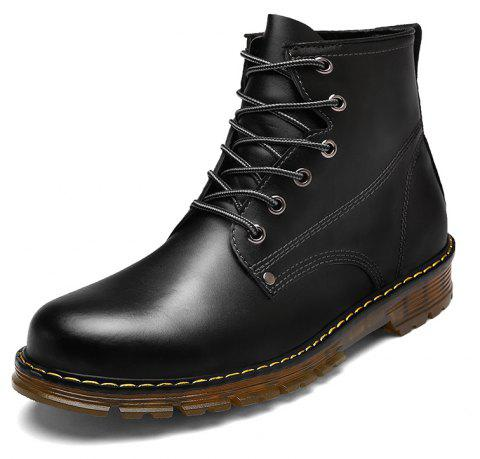 Men'S Leather High To Help Warm Work Locomotive Boots - BLACK EU 44