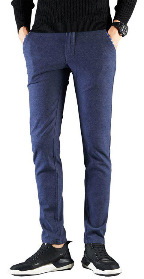 Autumn Men Clothing Casual Fashion Pants Business Dress Trousers - BLUE 36