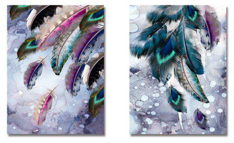 DYC 2PCS Colored Feathers Print Art - multicolor