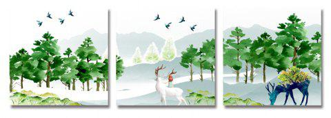 DYC 3PCS Deer in The Forest Print Art - multicolor