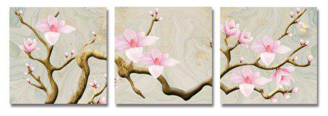 DYC 3PCS Beautiful Peach Blossom Print Art - multicolor