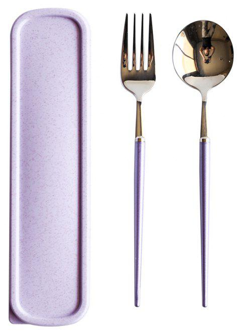 B24 Portable Stainless Steel Cutlery Set Spoon and Fork Mirror Polished - MAUVE 1 SET
