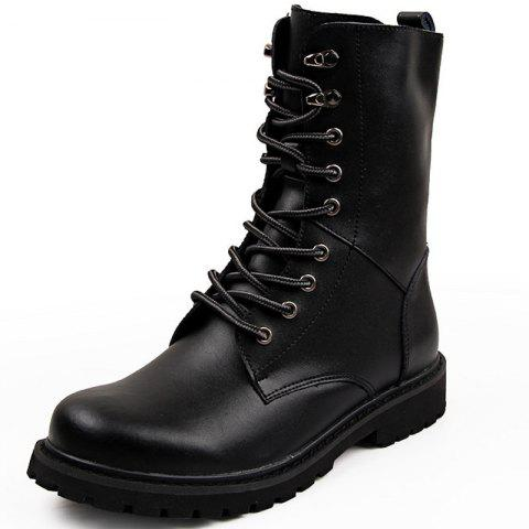Winter Casual Men Leather Handmade High Tops Male Boots Warm Shoes - BLACK EU 42